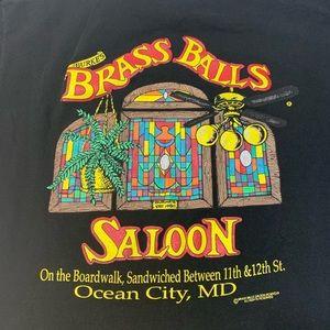 Vintage Bar Shirt Black Size Large Single Stitch